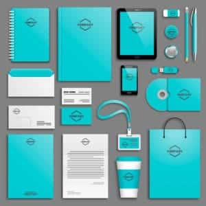 A branding guide keeps the company image consistent across all platforms like letters, bags, cups, etc.