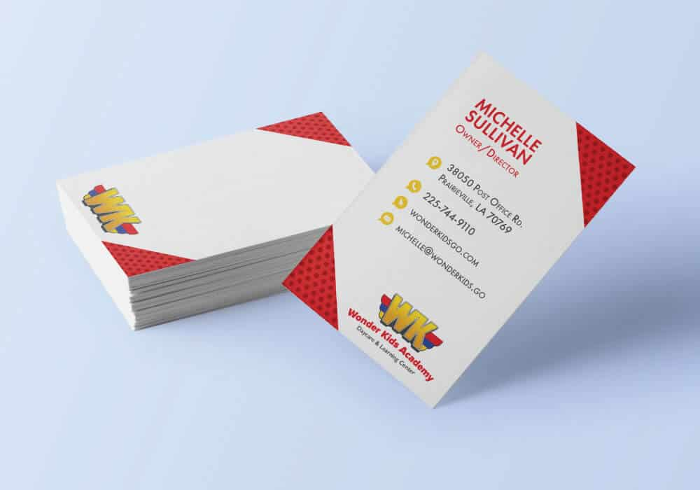 White business cards with red corners