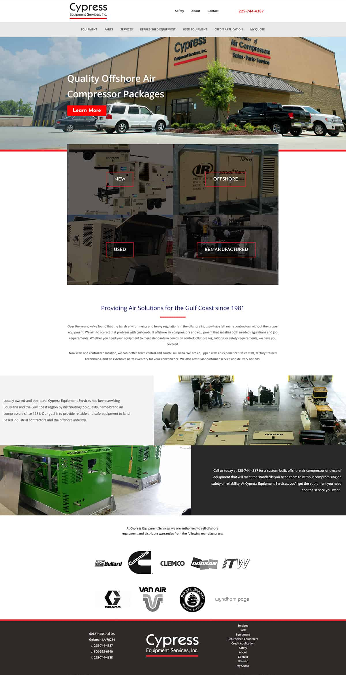 Website layout for marine equipment company