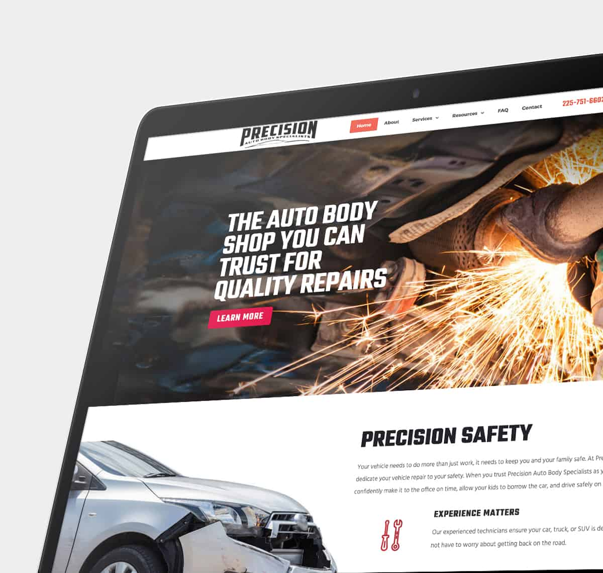Digital screen with automotive website displayed
