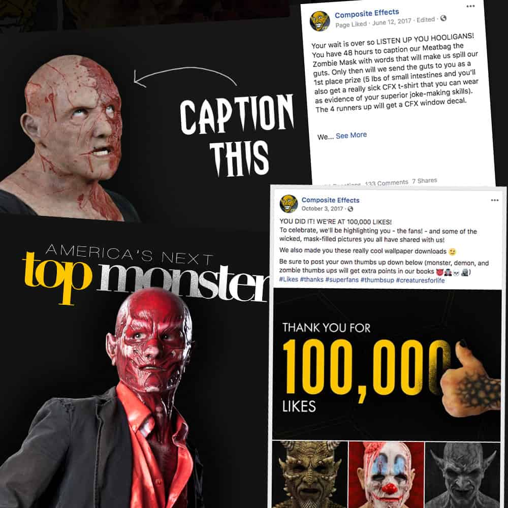 Various social media posts for mask company