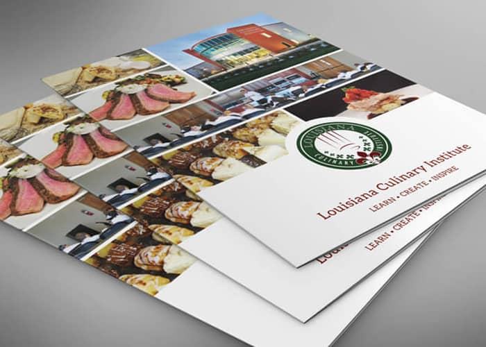 Brochures for a culinary institute