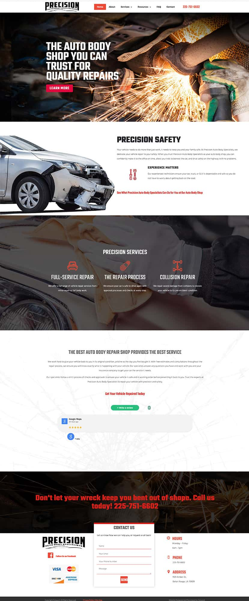 Website mockup for auto body shop