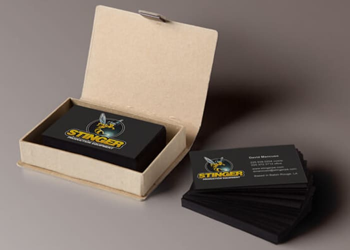 black and yellow business cards