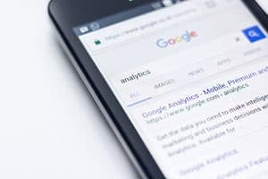 Search results on a mobile phone pulled from using keywords