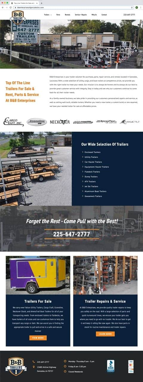 Website mockup of website for trailer rental