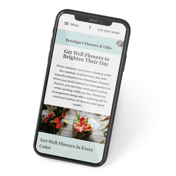 Mobile device with a flower shop website displayed on the screen