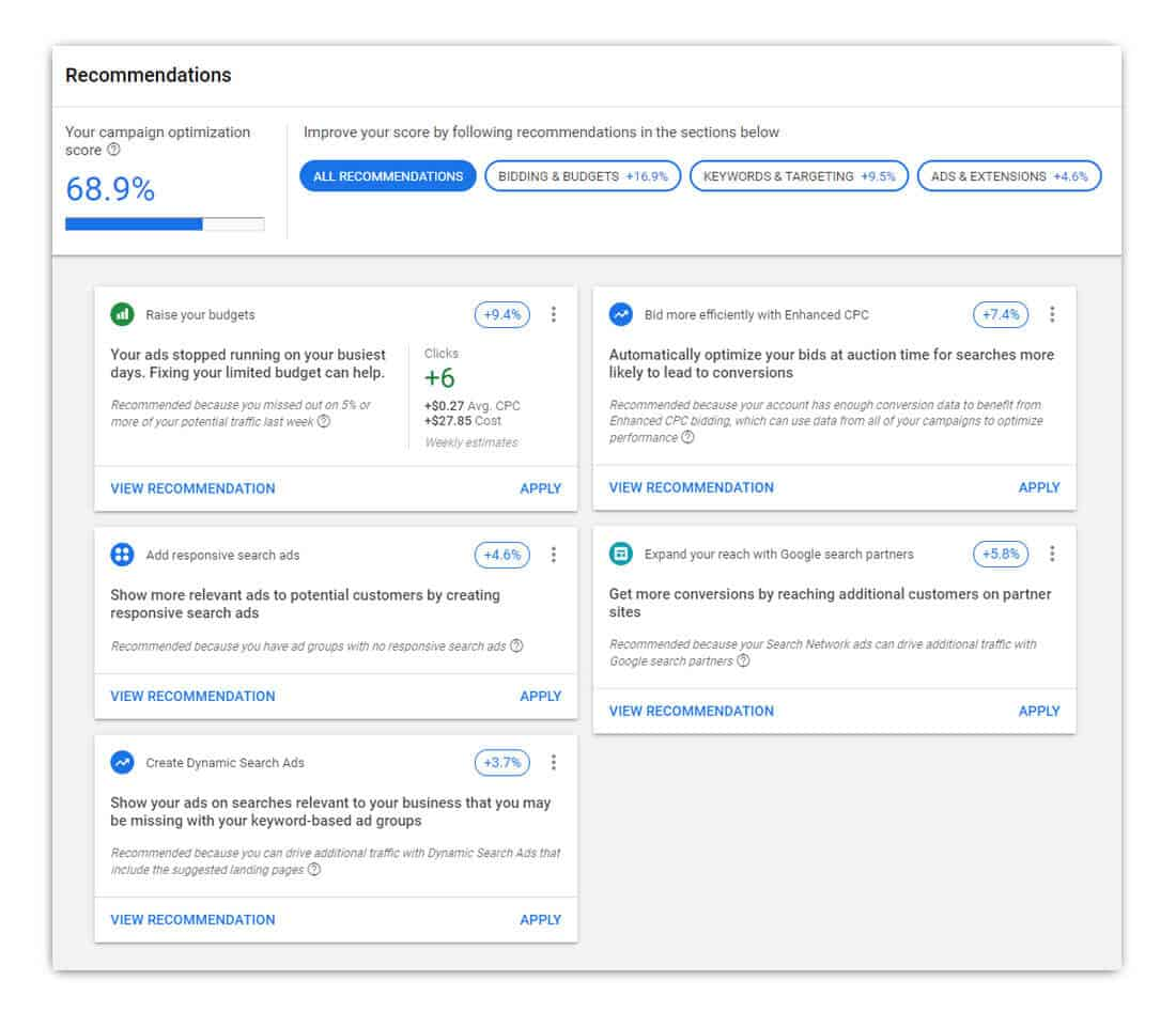 Image of Google automation recommendations
