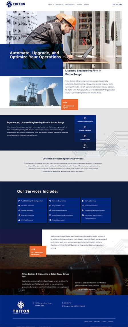 Baton Rouge website design for industrial company