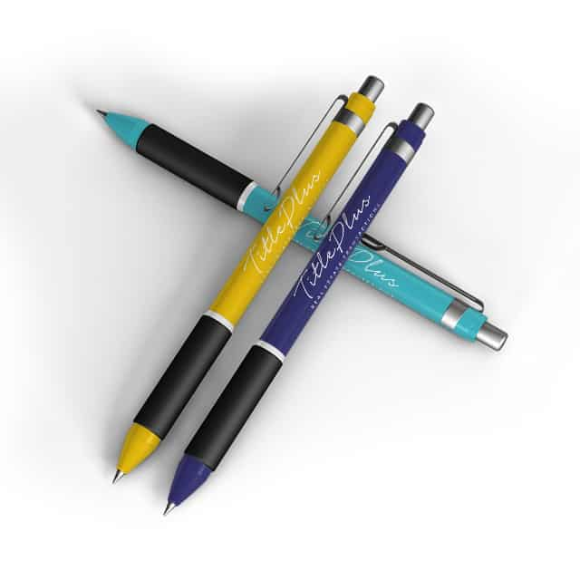 three pens with business name on them