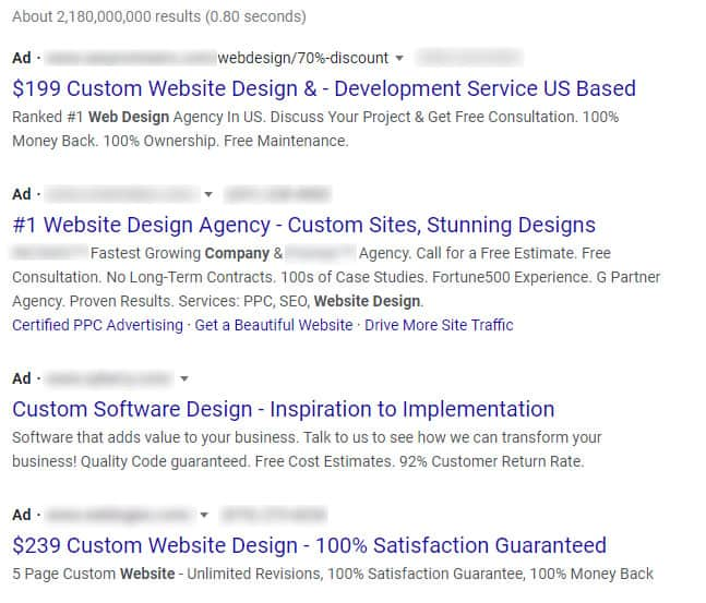 four ads in google search results