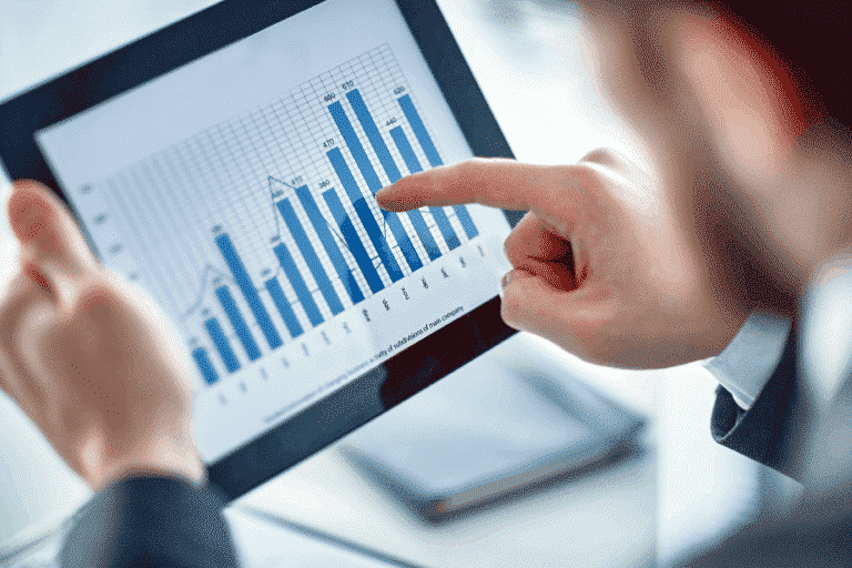 Advertising professional looking at data trends for digital marketing in 2021