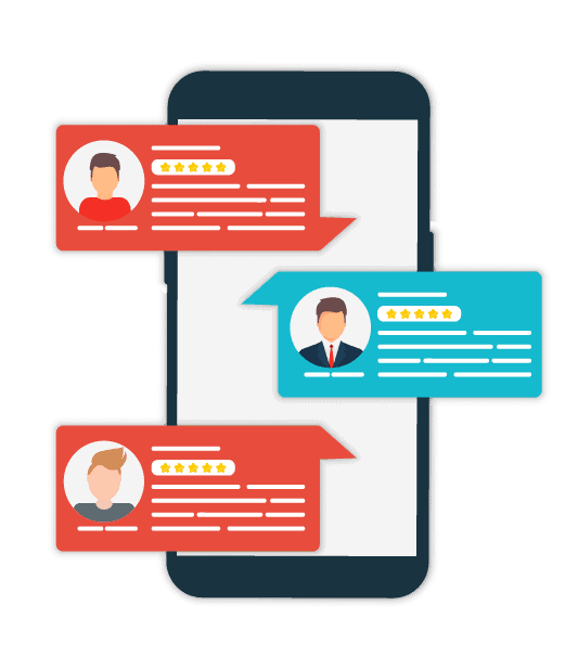 Mockup of online reviews over a phone