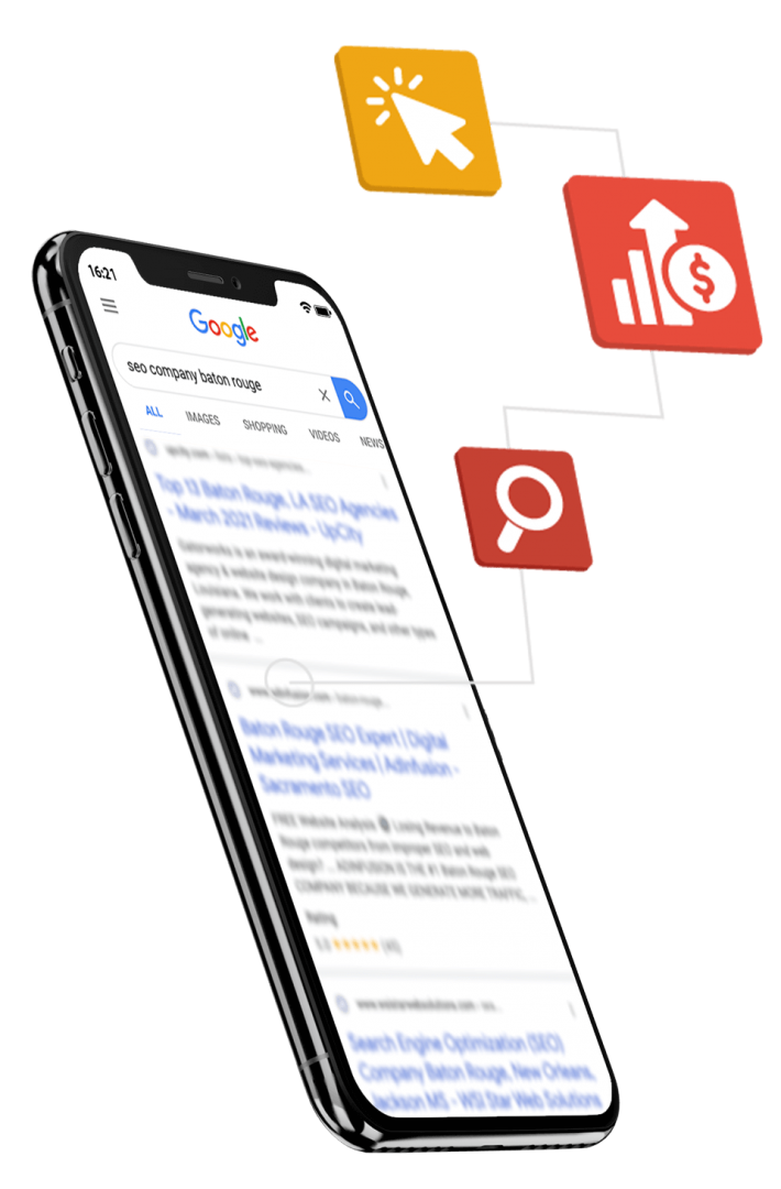 phone displaying ppc advertisements on google with icons highlighting benefits