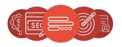 red cicles with icons representing 11 reason to blog
