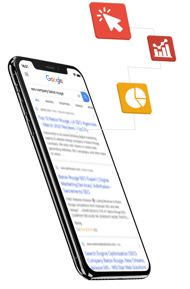 phone displaying seo results with seo service icons